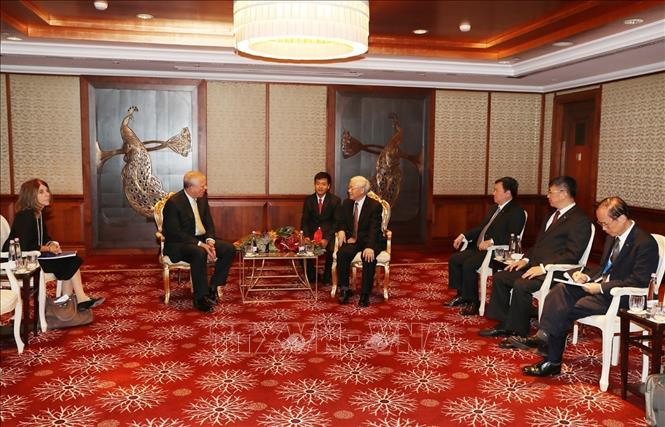 Photo: An overview of the talks between Party General Secretary Nguyen Phu Trong and Prince Andrew, Duke of York. VNA Photo: Trí Dũng