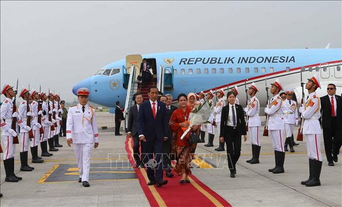 Photo: A welcome ceremony for President of Indonesia Joko Widodo and his spouse at Noi Bai International Airport. VNA Photo: Doãn Tấn