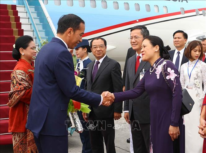Photo: Representatives of the Ministry of Foreign Affairs welcome President Joko Widodo and his spouse at Noi Bai International Airport. VNA Photo: Doãn Tấn