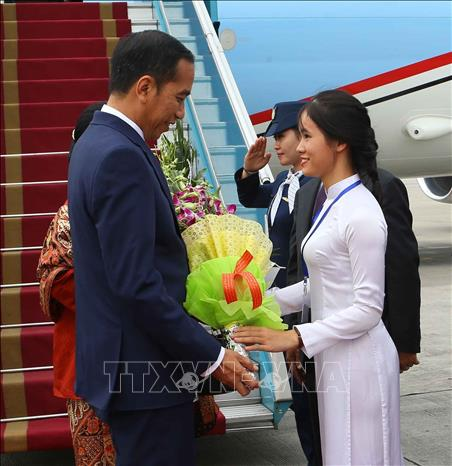 Photo: President Joko Widodo and his spouse receive flowers from a Vietnamese girl at Noi Bai International Airport. VNA Photo: Doãn Tấn