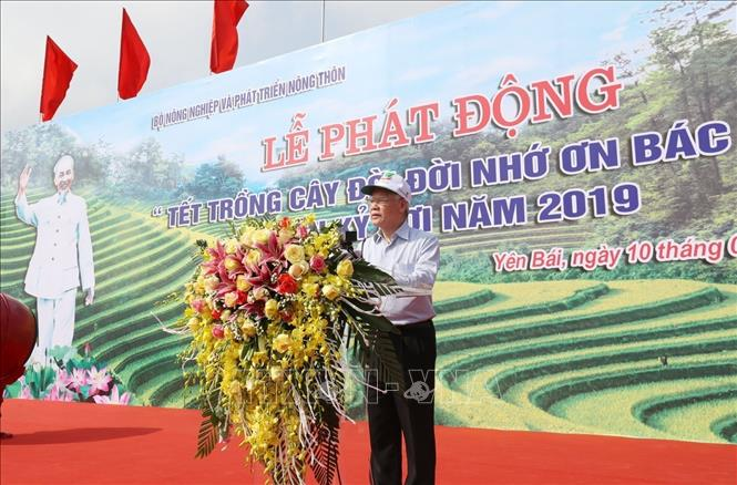 Photo: Party General Secretary, President Nguyen Phu Trong speaks at the New Year Tree Planting Festival. VNA Photo: Trí Dũng