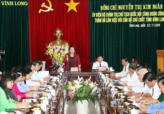 Photo: Chairwoman of the National Assembly Nguyen Thi Kim Ngan speaks at the working session. VNA Photo: Trọng Đức