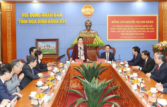 Photo: NA Chairwoman Nguyen Thi Kim Ngan speaks at the working session with local authorities. VNA Photo: Trọng Đức
