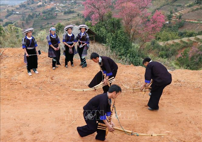 Photo: Local people often play traditional games under To Day trees. VNA Photo.