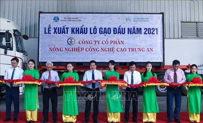 Photo: Delegates at a ceremony to export rice to Singapore and Malaysia. VNA Photo: Thanh Liêm
